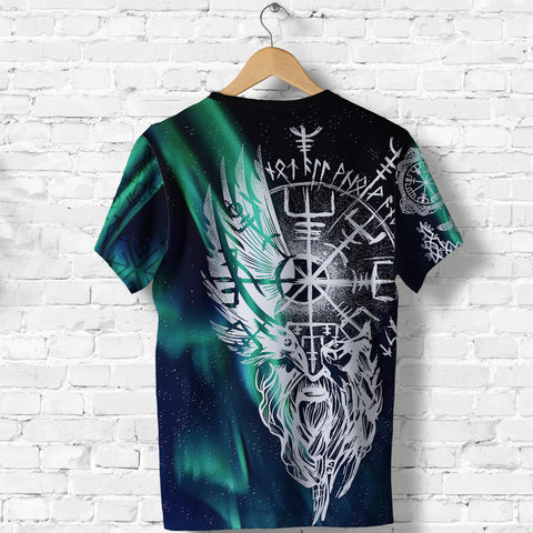 1stIceland Viking T-Shirt Odin And Northern Lights TH12 - 1st Iceland