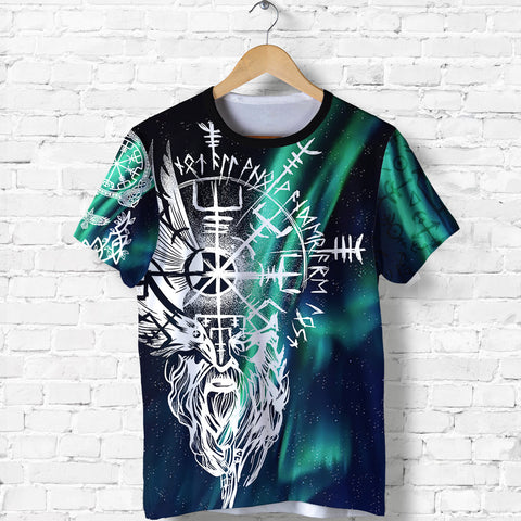 Image of 1stIceland Viking T-Shirt Odin And Northern Lights TH12 - 1st Iceland