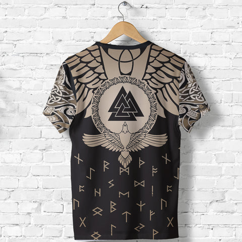 Image of 1stIceland Viking T-Shirt, Flying Raven Tattoo and Valknut Gold - 1st Iceland