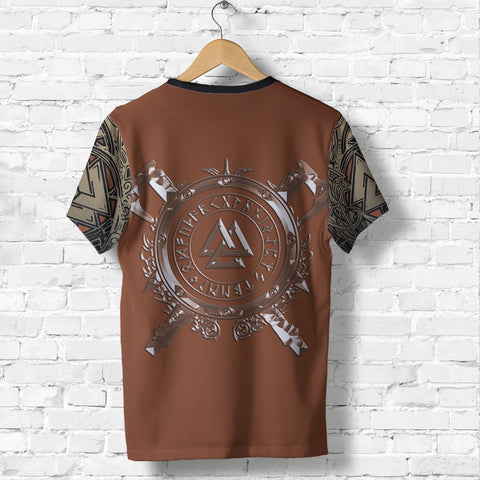 Image of 1stIceland Viking T-Shirt, Odin Norse Mythology Runes Valknut Th00 - 1st Iceland