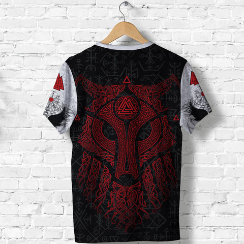 Viking Wolf and Raven T Shirt Valknut Runes Red K13 - 1st Iceland