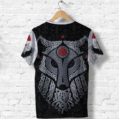 Image of Viking Wolf and Raven T Shirt Valknut Runes K13 - 1st Iceland