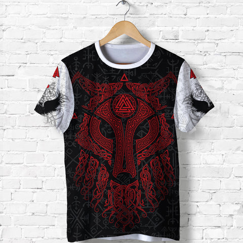 Viking Wolf and Raven T Shirt Valknut Runes Red Front | 1stIceland
