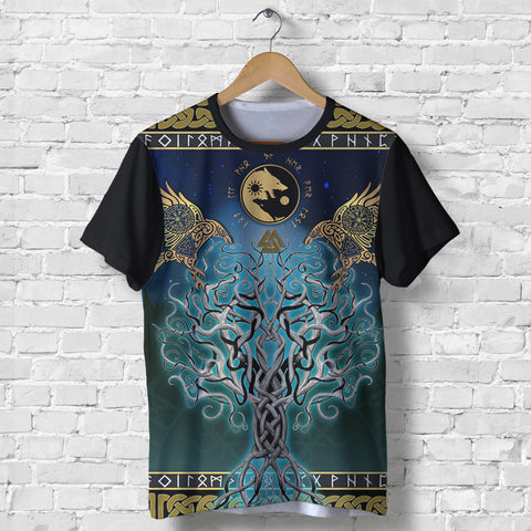 1stIceland Viking T-Shirt, Tree Of Life Fenrir Skoll And Hati Raven Rune TH00 - 1st Iceland