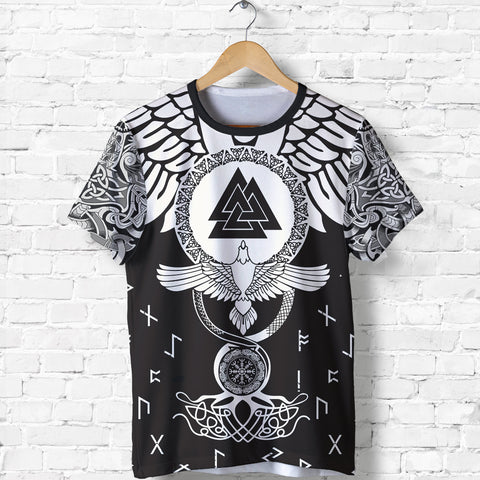 Image of 1stIceland Viking T-Shirt, Flying Raven Tattoo and Valknut - 1st Iceland