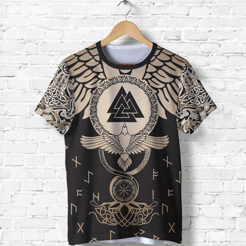 1stIceland Viking T-Shirt, Flying Raven Tattoo and Valknut Gold - 1st Iceland