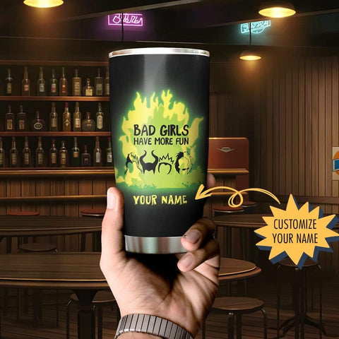 3D Squadgoals Villains Bad Girls Have More Fun Custom Name Design Vacuum Insulated Tumbler K6 - 1st Iceland