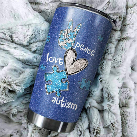 3D I Use Blue For Autism Awareness Custom Design Vacuum Insulated Tumbler K6 - 1st Iceland