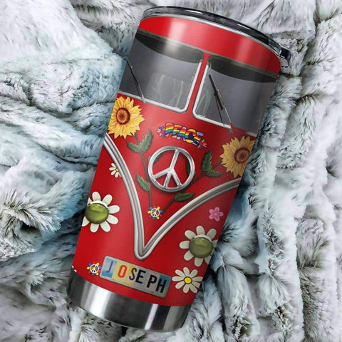 Image of 3D Hippie Sunflower Peace Vw Bus Custom Name Design Vacuum Insulated Tumbler K6 - 1st Iceland