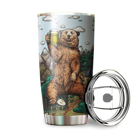 Image of 3D Beer Bear I Hate People Custom Design Vacuum Insulated Tumbler K6 - 1st Iceland