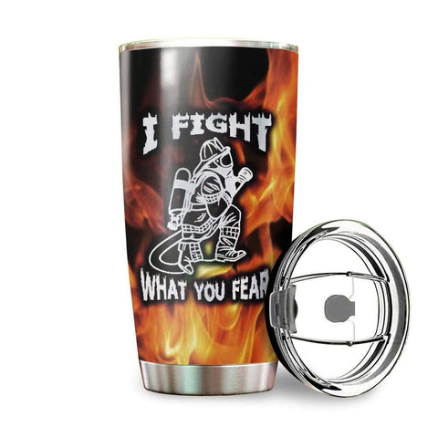 3D I Fight What You Fear Firefighter Custom Name Design Vacuum Insulated Tumbler K6 - 1st Iceland