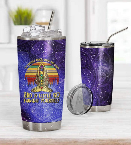 3D Hippie Yoga I Am Mostly Peace Love And Light Custom Design Vacuum Insulated Tumbler K6 - 1st Iceland