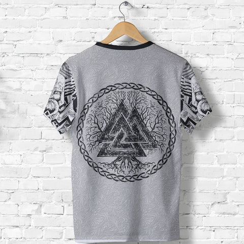 1stIceland Viking T-Shirt, Fenrir Skoll And Hati Valknut Raven White TH00 - 1st Iceland