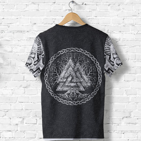 1stIceland Viking T-Shirt, Fenrir Skoll And Hati Valknut Raven TH00 - 1st Iceland
