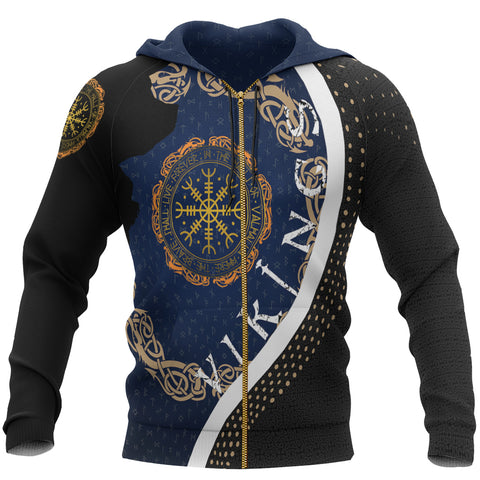 1stIceland Viking Zip Up Hoodie, Vegvisir Compass Runes K7 - 1st Iceland