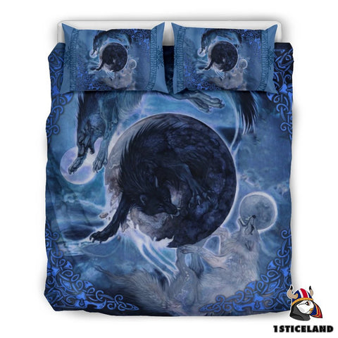 Nordic Warrior Viking Bedding Set, Fenrir Skoll And Hati K7 Blue - 1st Iceland