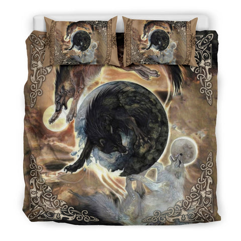1stIceland Viking Bedding Set, Fenrir Skoll And Hati K7 Gold - 1st Iceland