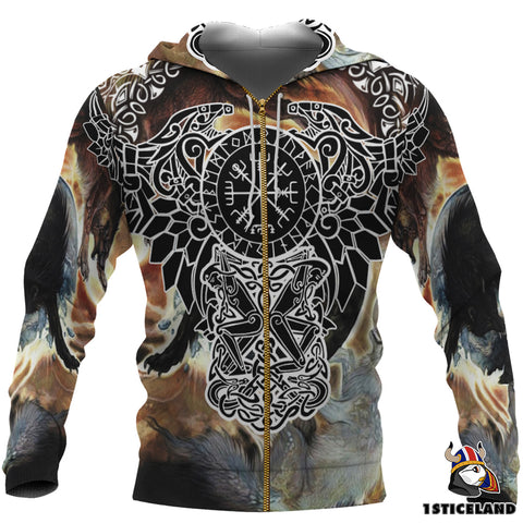 1stIceland Viking Zip Up Hoodie, Ravens Helm Of Awe Fenrir Skoll And Hati K7 - 1st Iceland