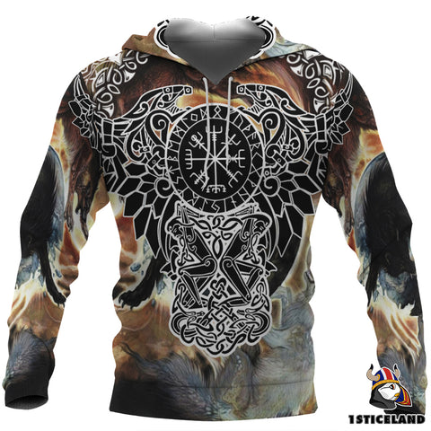 1stIceland Viking Hoodie, Helm Of Awe Fenrir Skoll And Hati K7 - 1st Iceland