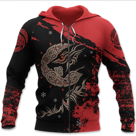 Image of 1sticeland Viking Zip Hoodie, Triskele Tyr's Fenrir, Red K5