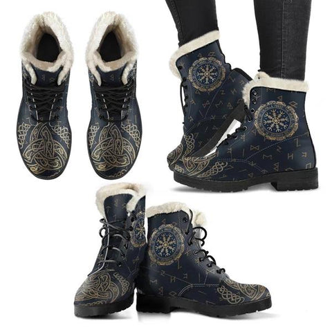 1stIceland Viking Faux Fur Leather Boots, Helm Of Awe Triskele Runes K5 - 1st Iceland