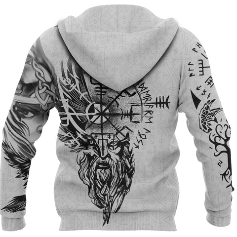 1stIceland Viking Valkyrie Zip Hoodie Odin's Raven Valknut Helm Of Awe TH5