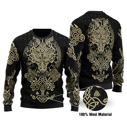 1stIceland Viking Wolf Fenrir 3D Printed 100% Wool Material Sweater TH12 - 1st Iceland