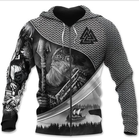 1stIceland Viking Zip Hoodie, Odin Tattoo Valknut K5