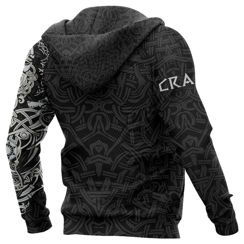1stIceland Cerakote Refinishing Art (CRA) Viking Zip Up Hoodie, Fenrir The Vikings Wolves Th00 Black