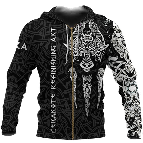Image of 1stIceland Cerakote Refinishing Art (CRA) Viking Zip Up Hoodie, Fenrir The Vikings Wolves Th00 Black - 1st Iceland