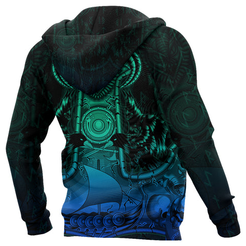 Image of 1stIceland Viking Zip Up Hoodie Mjolnir Drakkar K4 - 1st Iceland