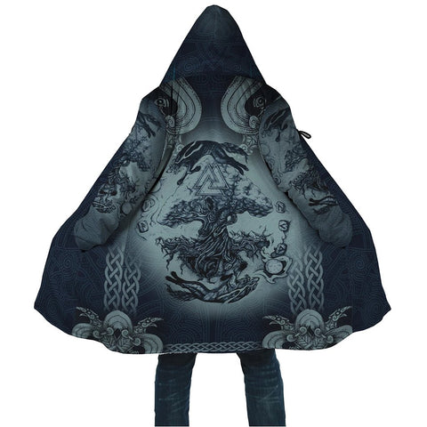 1stIceland Viking Hooded Cloak, Yggdrasil Fenrir Skoll And Hati Valknut K7 - 1st Iceland