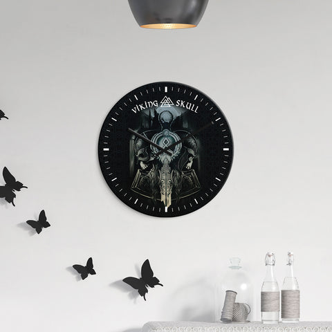 Image of 1stIceland Viking Wall Clock - Valhalla Viking Skull K7 - 1st Iceland