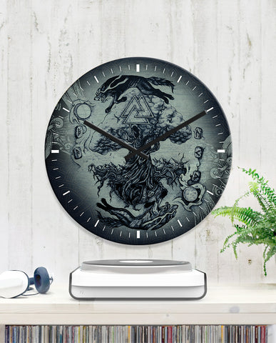 1sticeland Viking Wall Clock - Yggdrasil Fenrir Skoll And Hati K7 - 1st Iceland