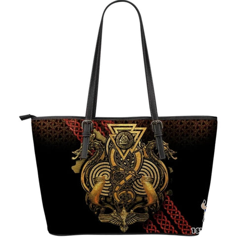 1stIceland Viking Leather Tote Bags, Fenrir Skoll And Hati Valknut Raven (Large) - 1st Iceland