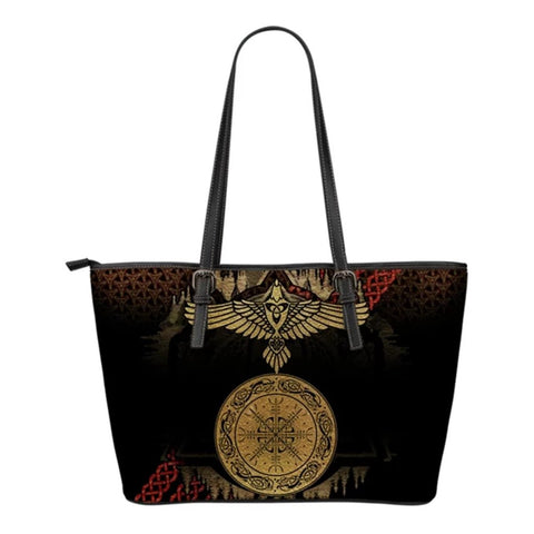 1stIceland Viking Leather Tote Bags, Odin's Raven Helm Of Awe (Small) - 1st Iceland
