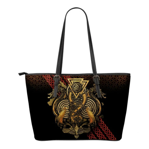 1stIceland Viking Leather Tote Bags, Fenrir Skoll And Hati Valknut Raven (Small) - 1st Iceland