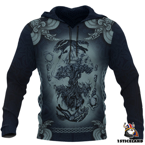 1stIceland Viking Pullover Hoodie, Fenrir Skoll And Hati Tree Of Life K7 - 1st Iceland