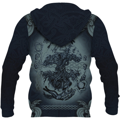 Image of 1stIceland Viking Zip Up Hoodie, Fenrir Skoll And Hati Raven Tree Of Life K7 - 1st Iceland