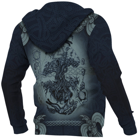 1stIceland Viking Zip Up Hoodie, Fenrir Skoll And Hati Raven Tree Of Life K7 - 1st Iceland