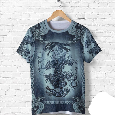 Image of 1stIceland Viking T-Shirt, Yggdrasil Fenrirs Skoll And Hati Valknut K7 - 1st Iceland