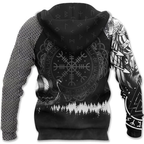 1stIceland Viking Pullover Zip Hoodie, Odin Tattoo Valknut Helm Of Awe K13 - 1st Iceland