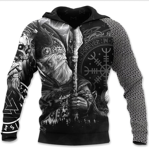 1stIceland Viking Pullover Hoodie, Odin Tattoo Valknut Helm Of Awe K5 - 1st Iceland