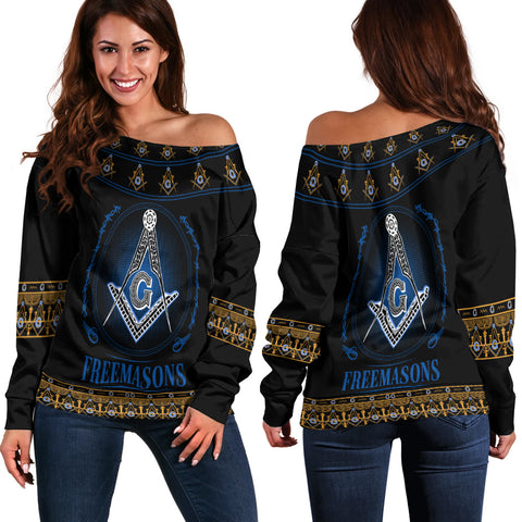 Image of 1stIceland Freemasonry Off Shoulder Sweater TH5 - 1st Iceland