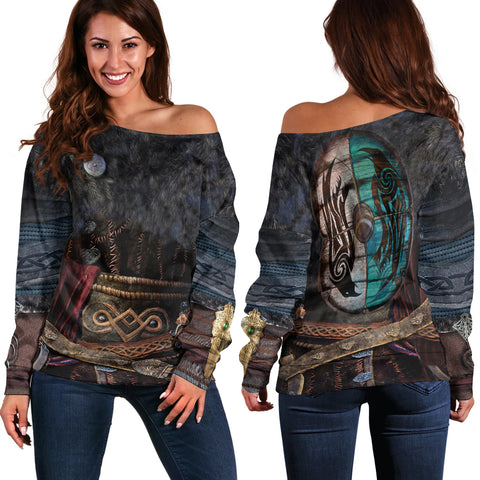 1stIceland Viking Armor Valhalla Off Shoulder Sweater K4 - 1st Iceland