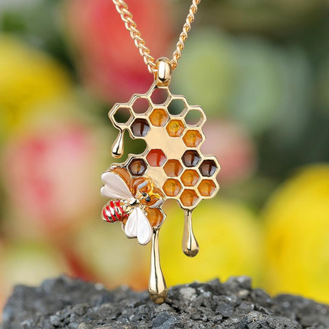 Image of Dripping Honey Bee Necklace TH7