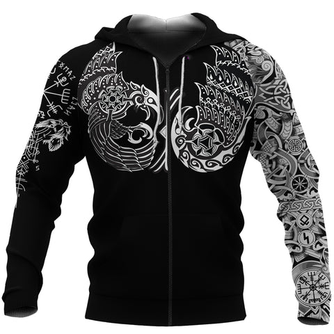 1sticeland Vikings Zip Up Hoodie, Huginn and Muninn The Odin Raven Th00 - 1st Iceland