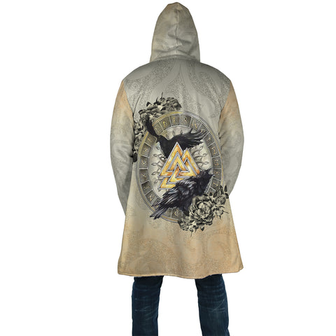 Image of 1stIceland Viking Hooded Cloak, Odin's Ravens Valknut Rune Circle TH00 - 1st Iceland