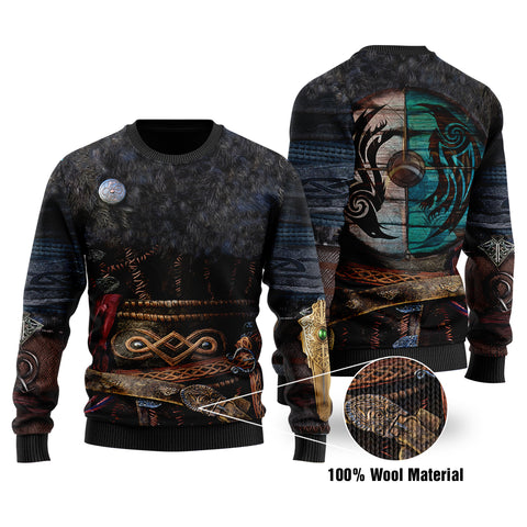 1stIceland Viking Armor Valhalla 3D Printed 100% Wool Material Sweater K4 - 1st Iceland