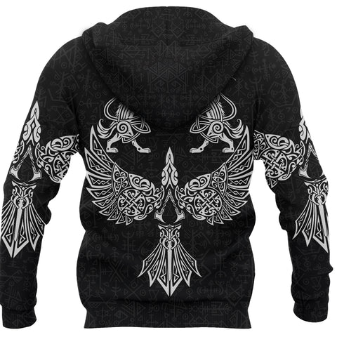 Image of 1stIceland Viking Zip Hoodie Valhalla Raven and Wolf K4 - 1st Iceland